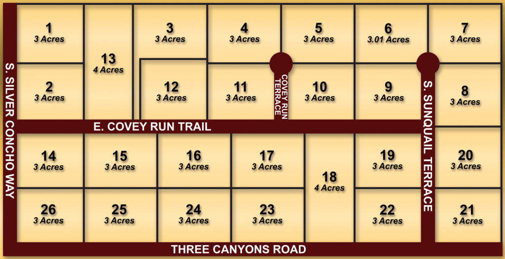Map of lots in the Covey Run subdivision